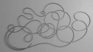 silver abstract curve continuous rendering