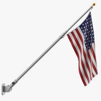 Flag Pole with US Flag 01