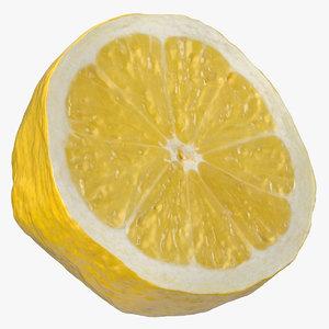 3D model lemon half cut