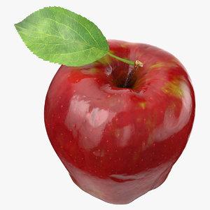 3D red apple leaf model
