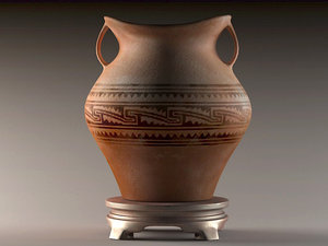 pottery jars painted vases 3D model