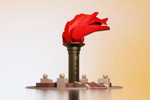 revolutionary sculpture square party model