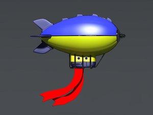 3D cartoon airships flying machines