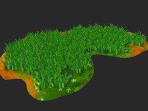 3D model cartoon grass q flowers