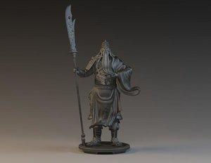 3D guan yu general samurai model