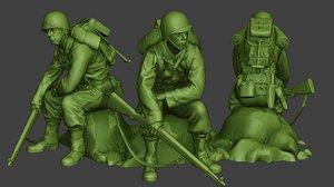 3D soldier ww2 sit american