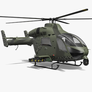 3D md 969 twin attack helicopter model
