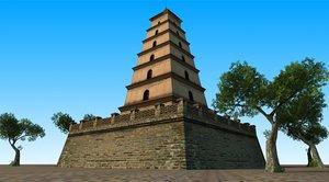 seven-story pagodas giant wild 3D model