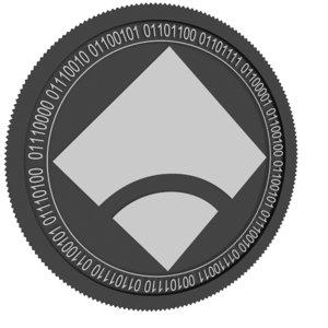 3D model mybit token black coin