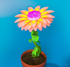 rigged daisy pink flower 3D model