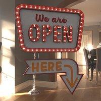 """Retro sign """"We are OPEN"""