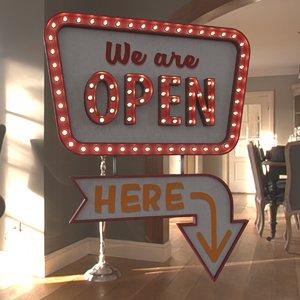 retro sign open 3D model