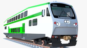 3D bombardier bilevel coach train model
