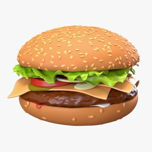 food fast cheeseburger 3D model