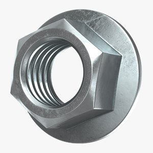 hex flange nut 3D