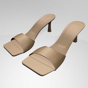 stylish square-toe spool-heel sandals 3D model