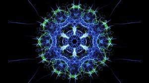 Live mandala, fractal color changing smoke patterns