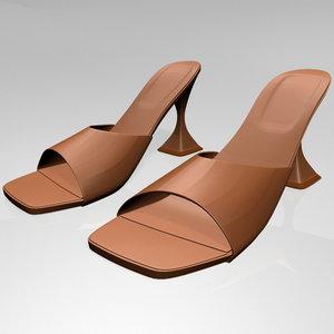 3D stylish square-toe spool-heel sandals