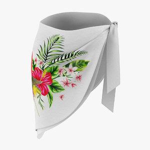 3D bathing suit wrap skirt