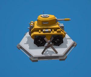 cartoon tank 3D model