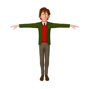 student young man cartoon 3D model