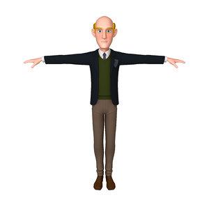 man cartoon professor 01 3D