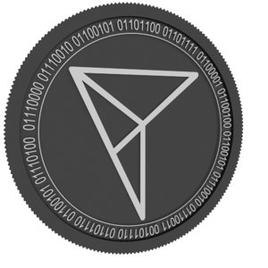 3D pitch black coin model