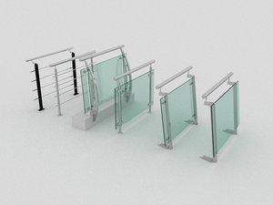 glass railling 3D model