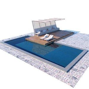 3D pool terrace canopy model