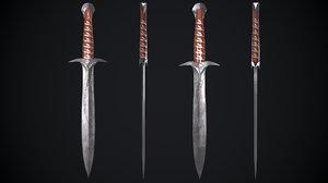 3D model sword lord rings movie