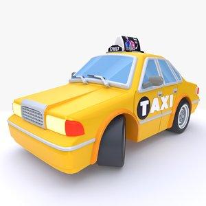 stylized cartoon taxi model