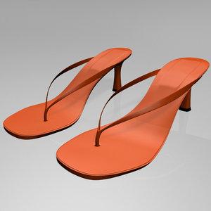 stylish thong spool-heel sandals 3D model