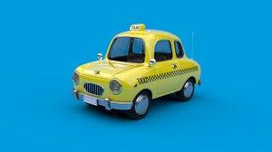 3D cartoon car taxi rig