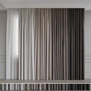 curtain silk fabric 3D model