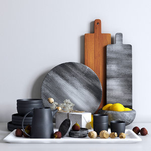 decorative set kitchen plates 3D model