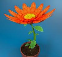 Cartoon Daisy Red Flower