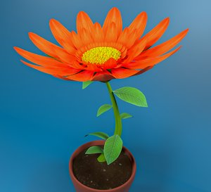 3D rigged daisy red flower