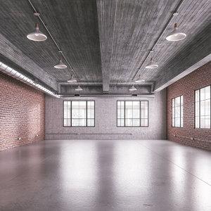 3D industrial office loft space