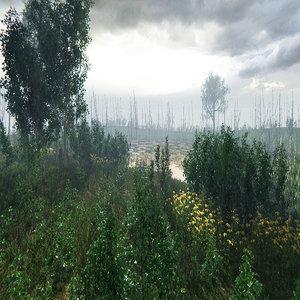3D trees bushes grass vegetation model