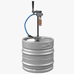 3D steel beer keg 30l model