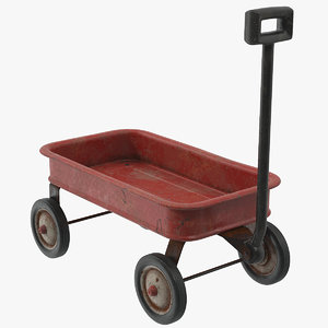 toy wagon rusty 3D model