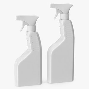 spray bottles white plastic 3D model