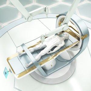 3D model sci-fi lab bed robot arm