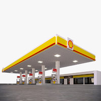 Gas Station Shell - PBR Low-poly