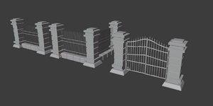 3D stylized fence gate model