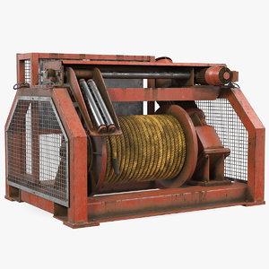 3D hydraulic mooring winch rusty model