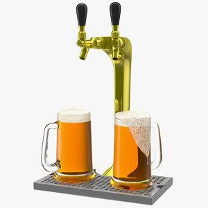 double tap brass draft beer 3D model