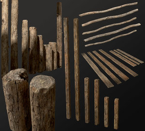 old planks 26 pieces 3D model