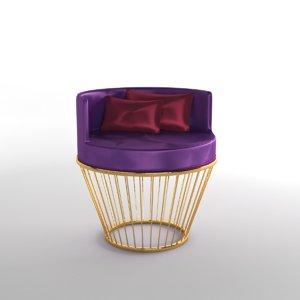 kadife sandalye 3D model