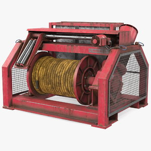 wire rope mooring winch 3D model